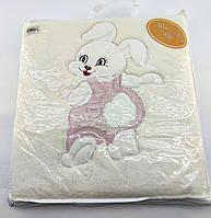 Дитячий плед ковдру Туреччина для новонародженого махровий молочний (НДП45)
