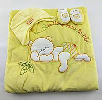 Дитячий плед конверт ковдру Туреччина для новонародженого махровий жовтий (НДП46)