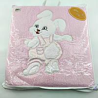 Дитячий плед ковдру Туреччина для новонародженого махровий рожевий (НДП47)
