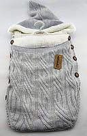 Конверт плед зимовий для новонародженого Туреччина унісекс дитячий сірий (ЧН55)