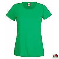 Женская футболка зелёного цвета хлопковая  Lady-Fit Valueweight-T от Fruit of the Loom, футболки женские оптом