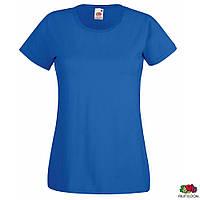 Футболка синего цвета 100% хлопок Lady-Fit Valueweight-T от Fruit of the Loom, футболки оптом под печать