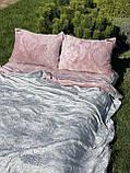 Велюровый Комплект постельного белья  Узор Барокко  двухсторонний Пион - Серый, фото 2