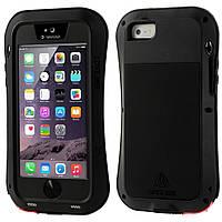 Чехол противоударный Love Mei Gorilla Glass для Apple iPhone SE 5 5S черный
