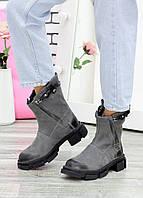 Ботинки шкіряні Crazy сірі 7608-28, фото 1