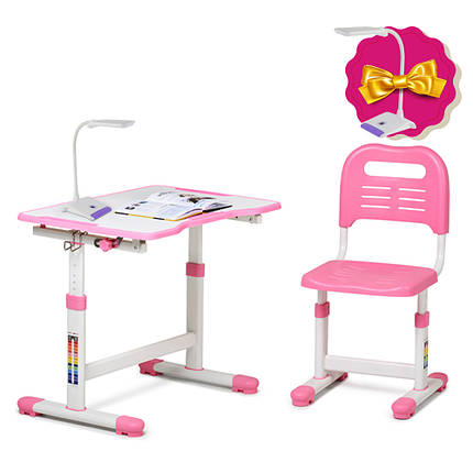 Комплект парта і стілець-трансформери FunDesk Sole II Pink, фото 2