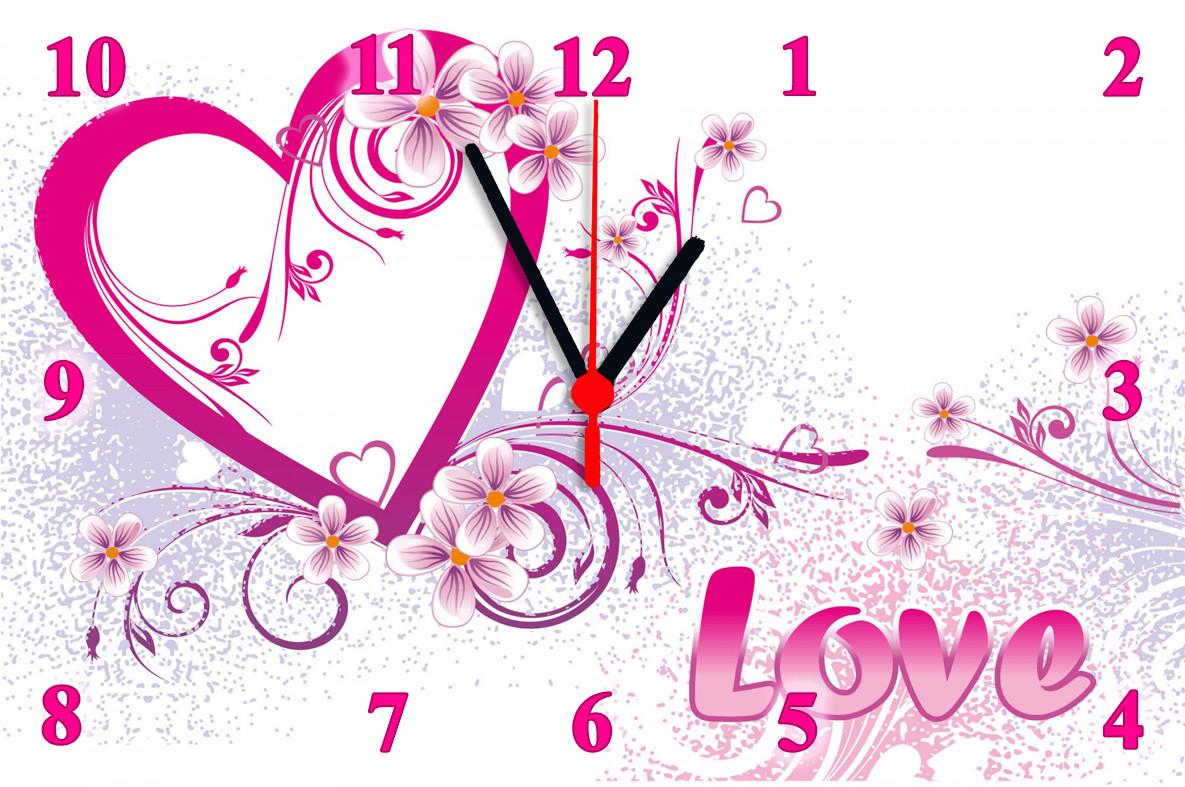 """Настінні годинники """"Сердечко з квітами"""""""