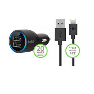 Автомобильное зарядное устройство Belkin 2 USB-порта + кабель Lightning, фото 2