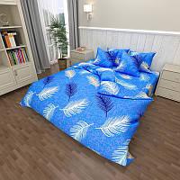 Комплект постельного белья GOLD синий в перья