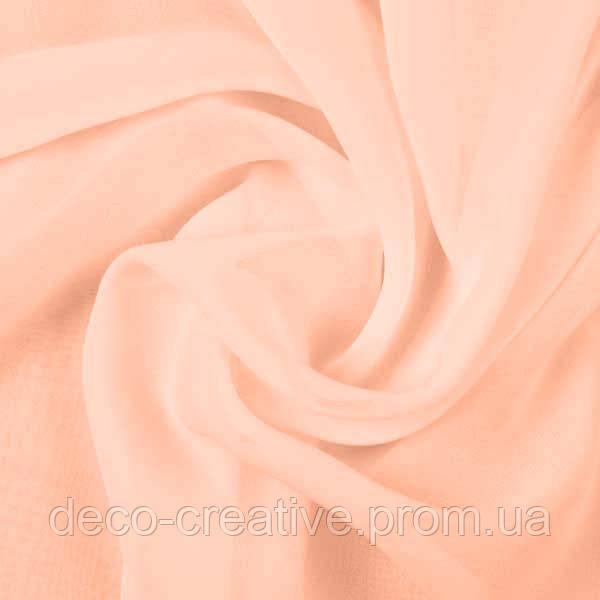 Тюль шифоновая однотонная персиковая