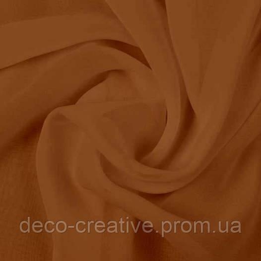 Тюль шифон однотонный, цвет темно коричневый