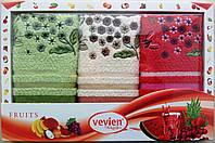 Набор махровых салфеток Vevien для кухни (Цветы) 30*50 Турция