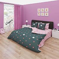 Комплект постельного белья GOLD розовая с сердечками и зайцами