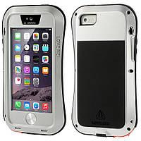 Чехол противоударный Love Mei Gorilla Glass для Apple iPhone SE 5 5S серебряный