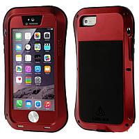 Чехол противоударный Love Mei Gorilla Glass для Apple iPhone SE 5 5S красный
