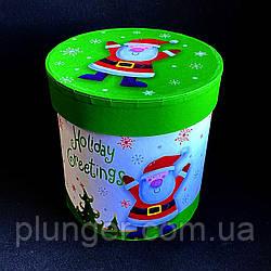 Коробка кругла новорічна 12*12,2 см