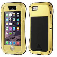 Чехол противоударный Love Mei Gorilla Glass для Apple iPhone SE 5 5S золотой