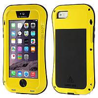 Чехол противоударный Love Mei Gorilla Glass для Apple iPhone SE 5 5S желтый