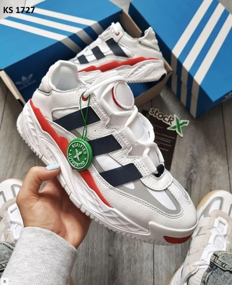 Мужские кроссовки Adidas Niteball (бело-красные) KS 1727 повседневные молодежные кроссы
