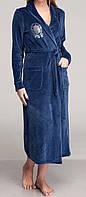 Женский велюровый халат длинный синий