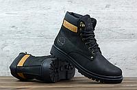 Чёрные кожаные мужские зимние ботинки Timberland   натуральная кожа / натуральная шерсть + термополиуретан