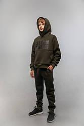 Теплий трикотажний дитячий костюм на хлопчика на флісі підлітків спортивний костюм з начосом колір хакі