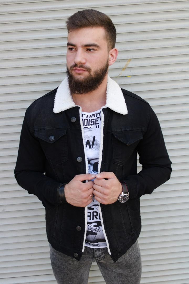 Чёрная джинсовая куртка на меху мужская Сл 2074
