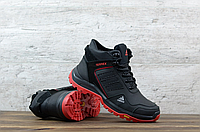 Чёрные кожаные мужские зимние ботинки Adidas Terrex   натуральная кожа / натуральная шерсть + термополиретан