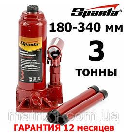 Домкрат гидравлический бутылочный, 3т, h подъема 180-340 мм// SPARTA