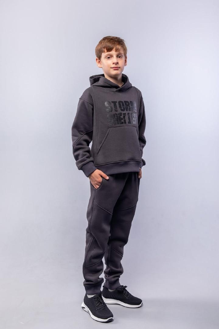 Теплий трикотажний дитячий костюм на хлопчика на флісі підлітків спортивний костюм з начосом колір графіт