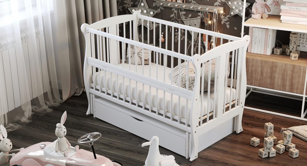 Кровать детская Дубик-М Грация с ящиком белая