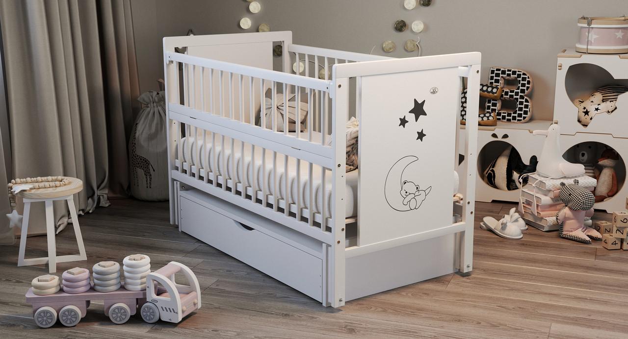Кровать детская Дубик-М Мишка белая с ящиком