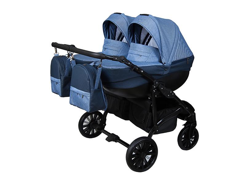Детская коляска для двойни 2 в 1 Angelina Amadeo Duo синяя с голубым color 6