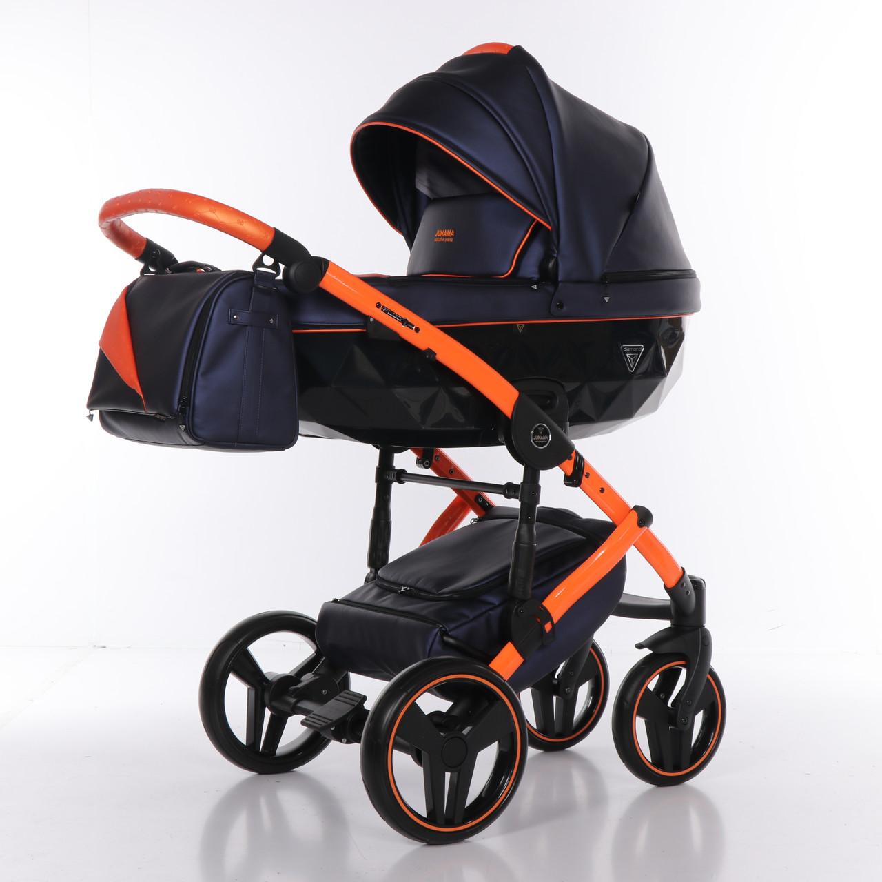 Детская коляска 2 в 1 Junama Diamond Fluo line II синяя с оранжевым 03