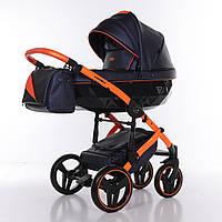 Детская коляска 2 в 1 Junama Diamond Fluo line II синяя с оранжевым 03, фото 1