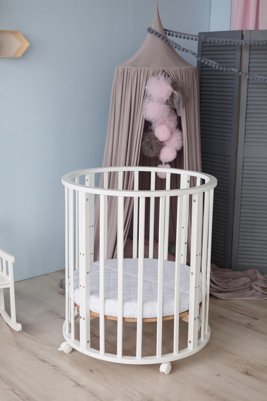 Ліжко дитяче овальна 8 в 1 Кузя Smart Bed колеса+маятник+матрац КПК біла