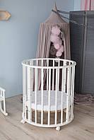 Ліжко дитяче овальна 8 в 1 Кузя Smart Bed колеса+маятник+матрац КПК біла, фото 1