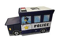 Ящик-пуф для іграшок Baby Comfort Поліцейська машина, фото 1