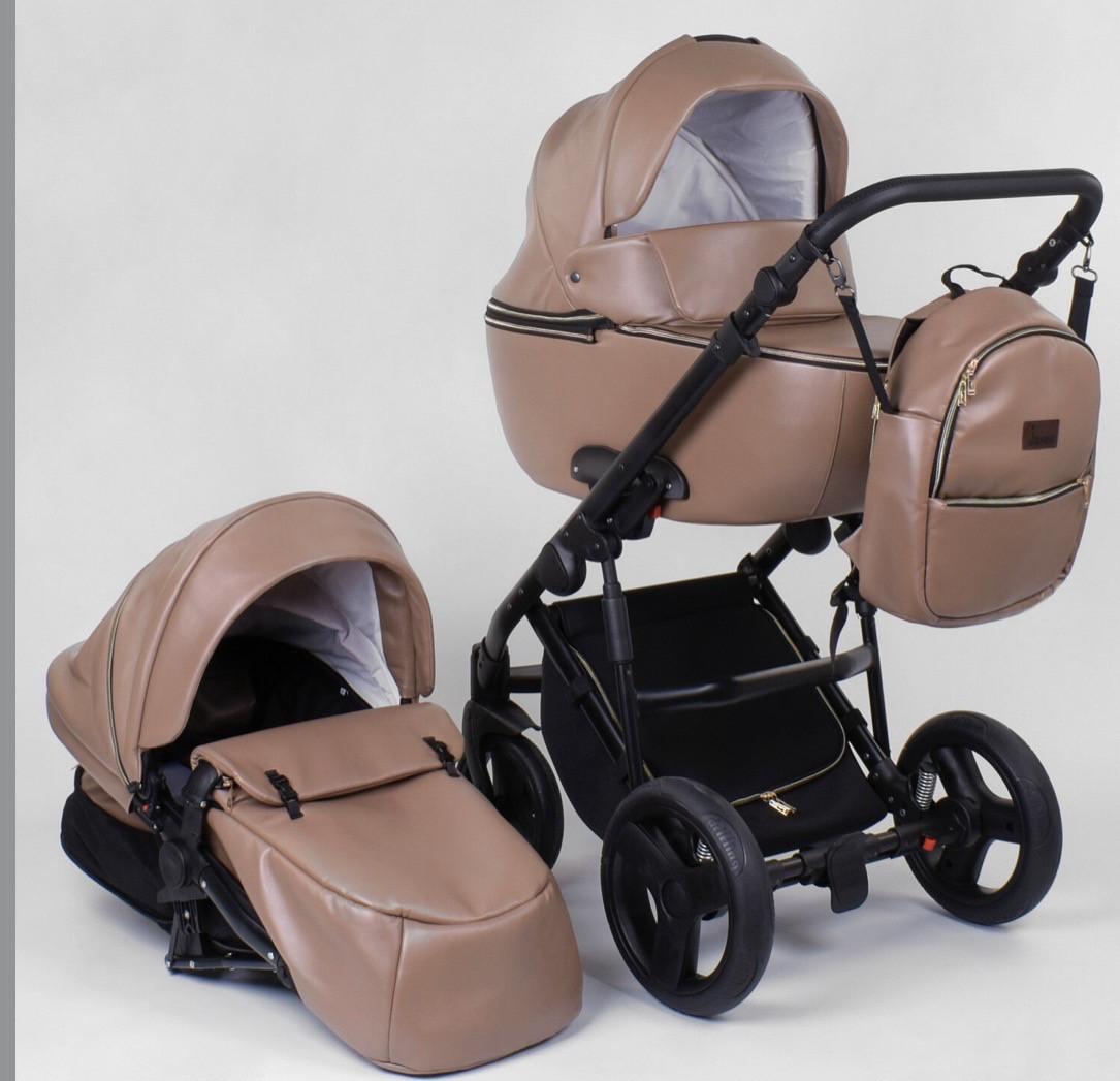 Детская коляска 2 в 1 Victoria Gold Roxy бежевая эко-кожа
