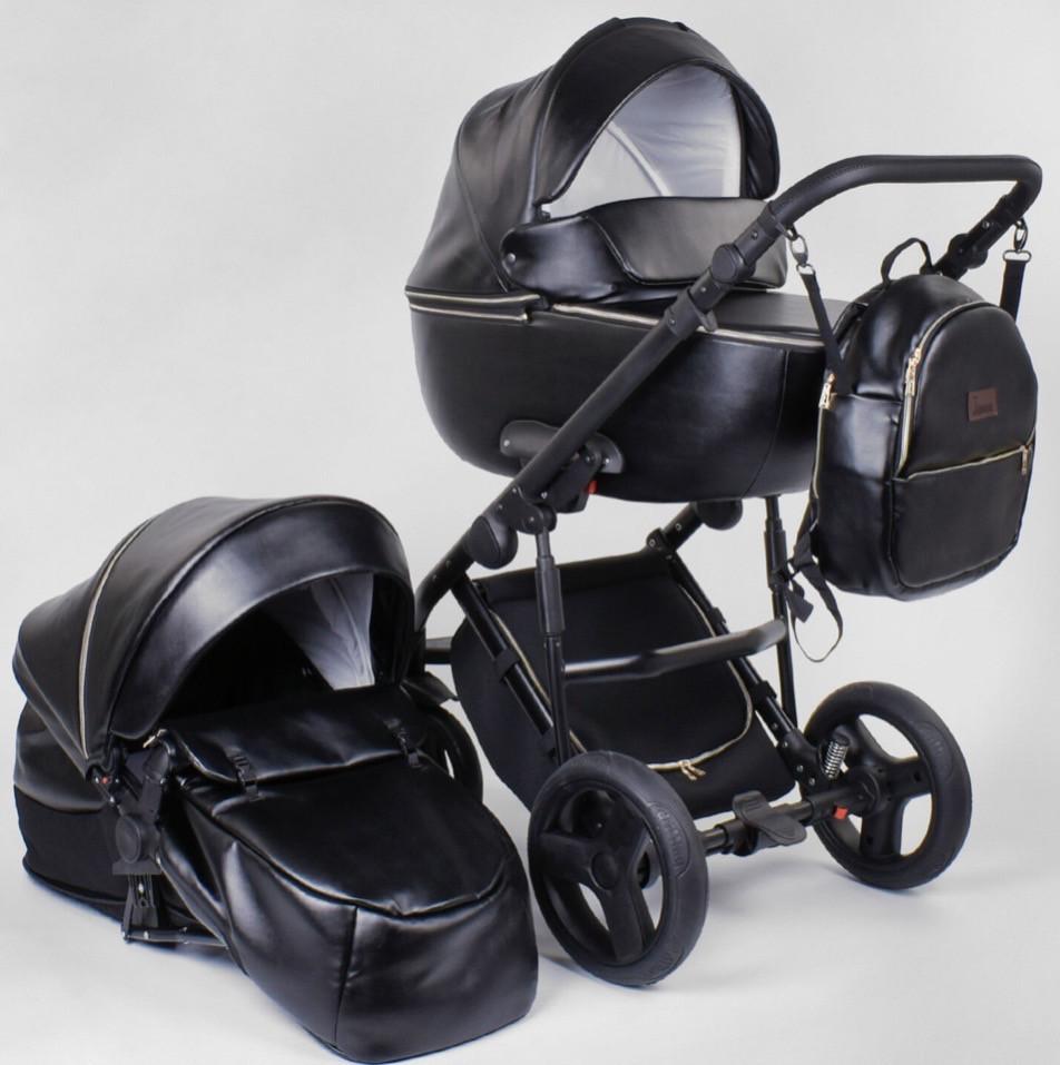 Детская коляска 2 в 1 Victoria Gold Roxy чёрная эко-кожа