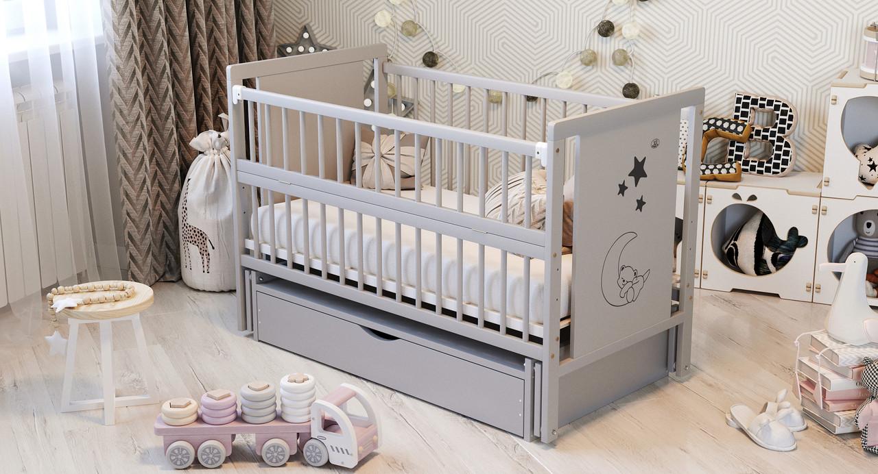 Ліжко дитяче Дубик-М Мишко сіра з ящиком