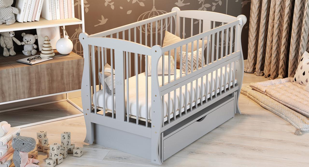 Кровать детская Дубик-М Грация с ящиком серая