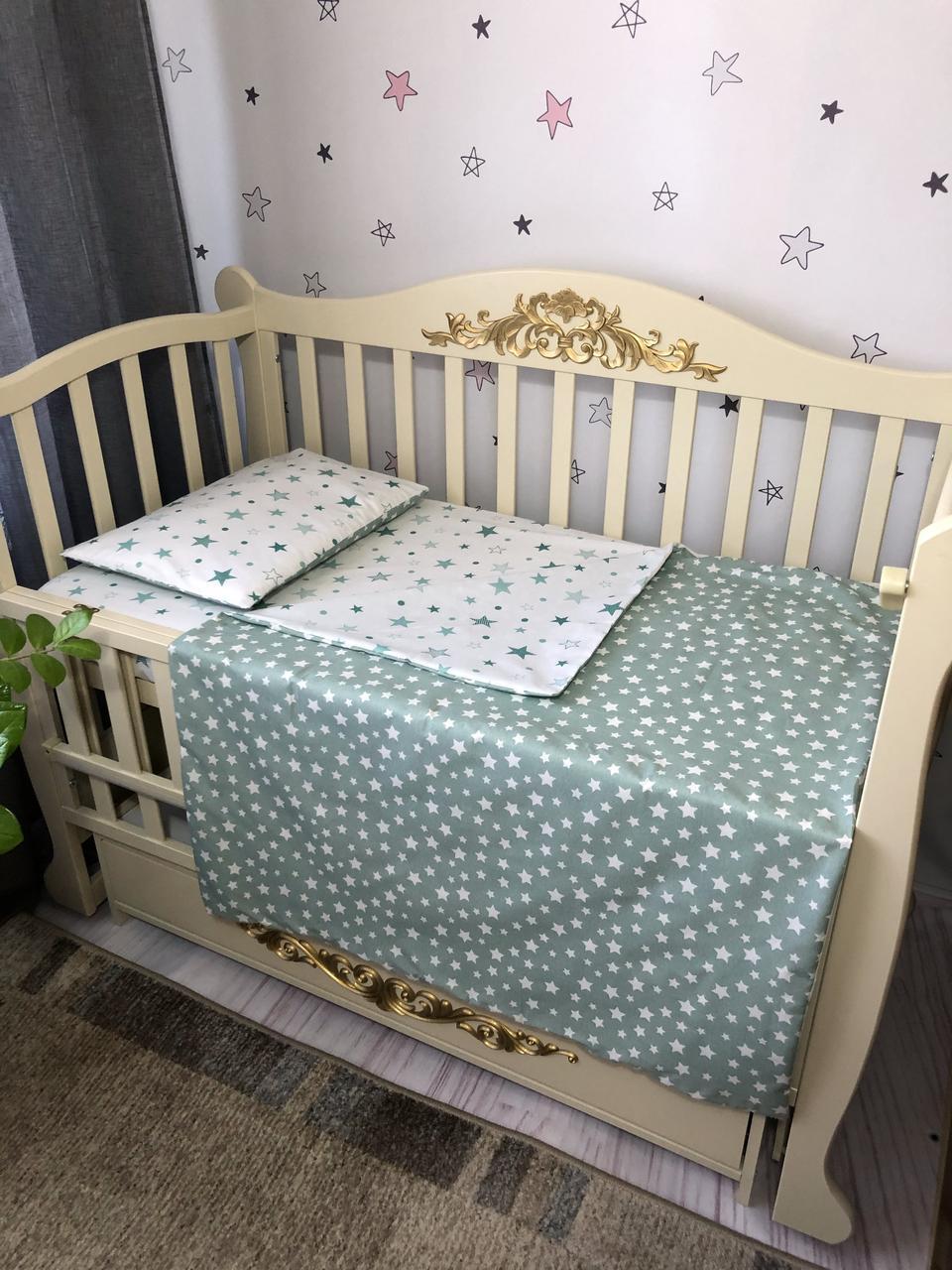 Сменный комплект постельного белья Baby Comfort  звездочки на мятном