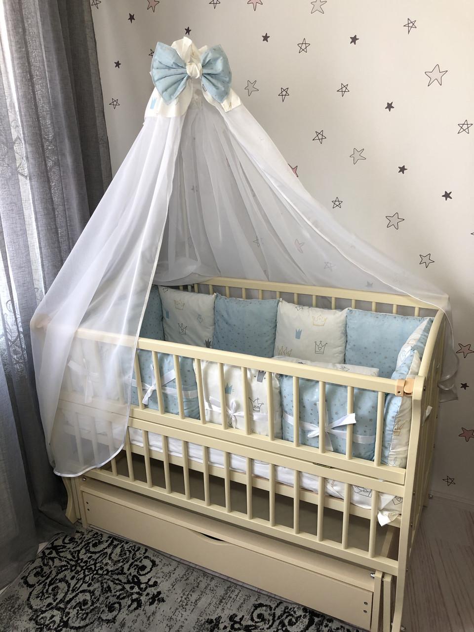 Комплект постельного белья Baby Comfort Glitter голубой 7 элементов