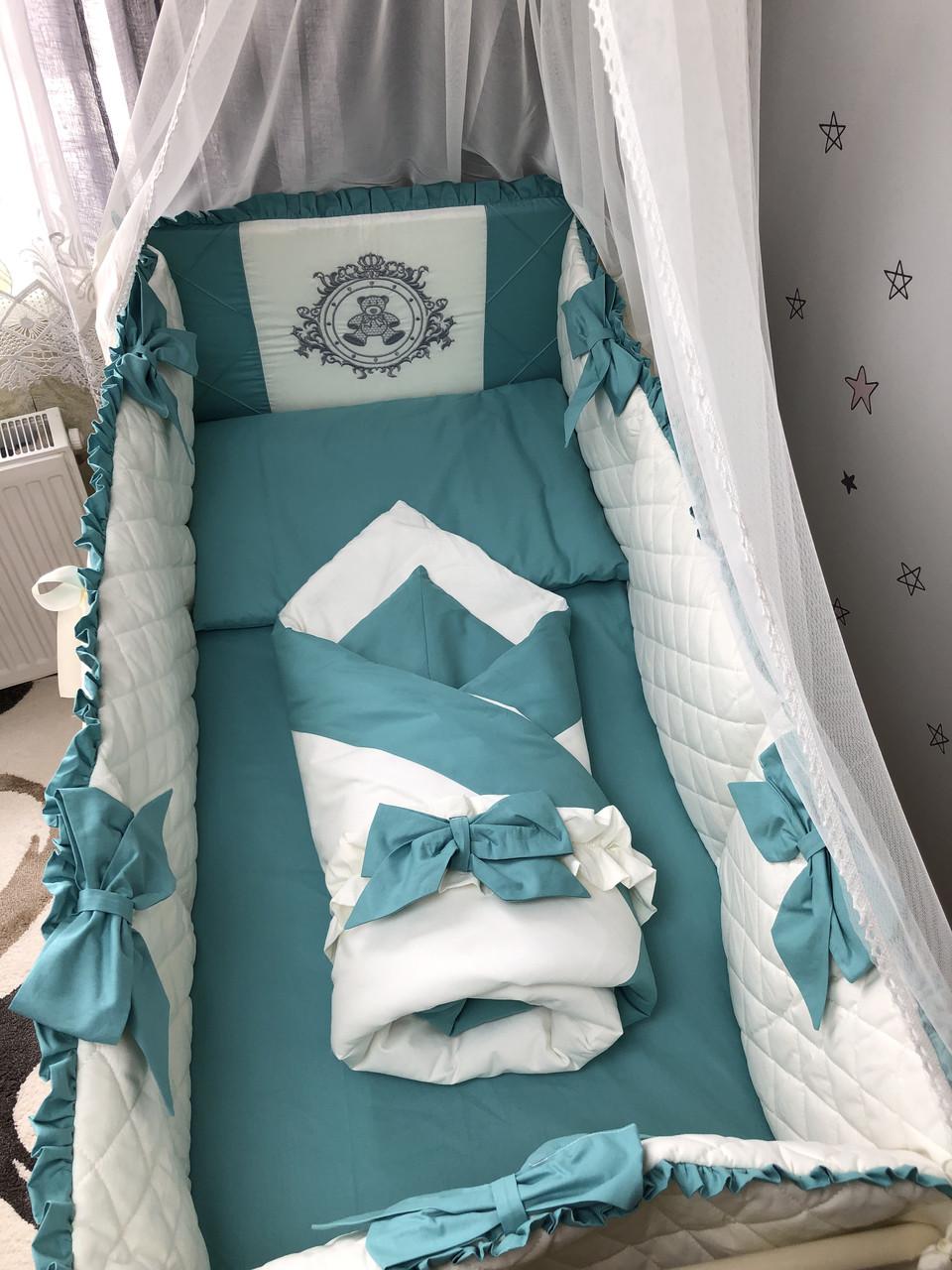 Комплект постельного белья Baby Comfort Royal Baby морская волна 8 элементов
