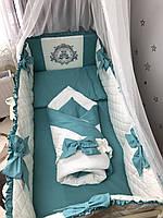 Комплект постельного белья Baby Comfort Royal Baby морская волна 8 элементов, фото 1