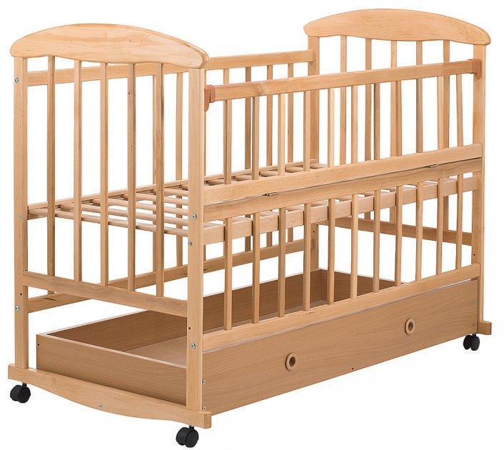 Кроватка детская Наталка ОСЯ ольха светлая с ящиком