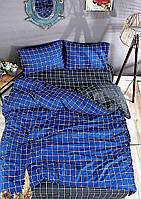 Постільна з простирадлом на резинці євро розмір Туреччина Різні моделі Сіро-синя клітинка