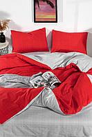 Постільна з простирадлом на резинці євро розмір Туреччина Різні моделі Сіро-червоний