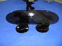 """Эксклюзивный стеклянный журнальный стол """"Диамант черный двойной"""""""